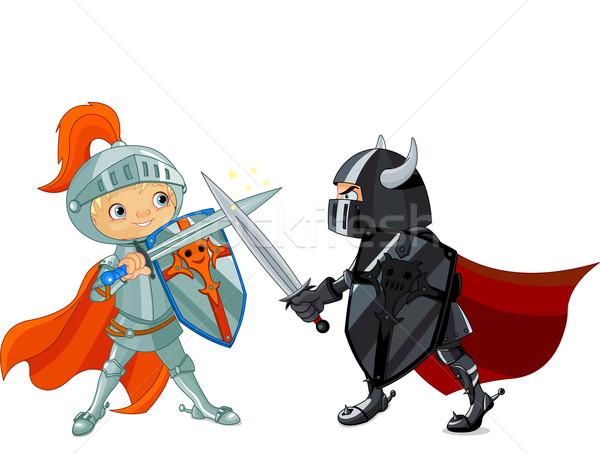 Foto stock: Ilustración · dos · nino · espada · casco