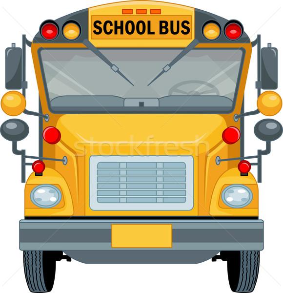 Iskolabusz rajz illusztráció iskola ablak oktatás Stock fotó © Dazdraperma