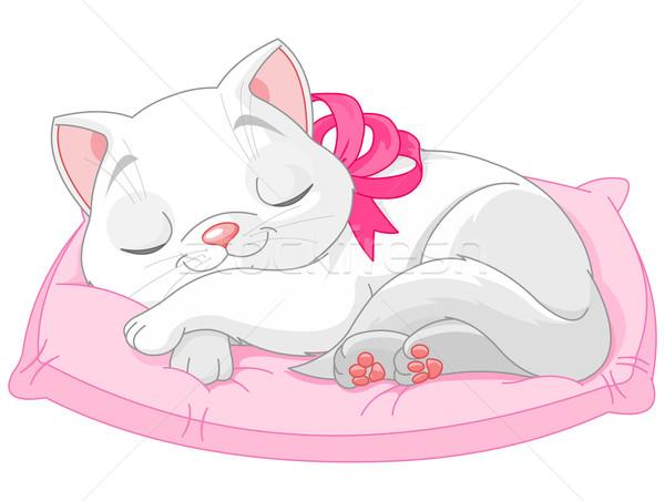 Aranyos fehér macska illusztráció rózsaszín íj Stock fotó © Dazdraperma