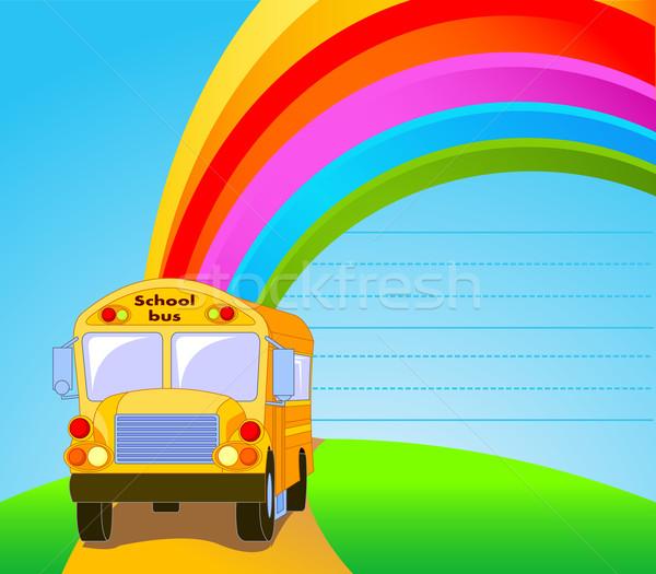 Geel schoolbus illustratie amerikaanse kinderen achtergrond Stockfoto © Dazdraperma