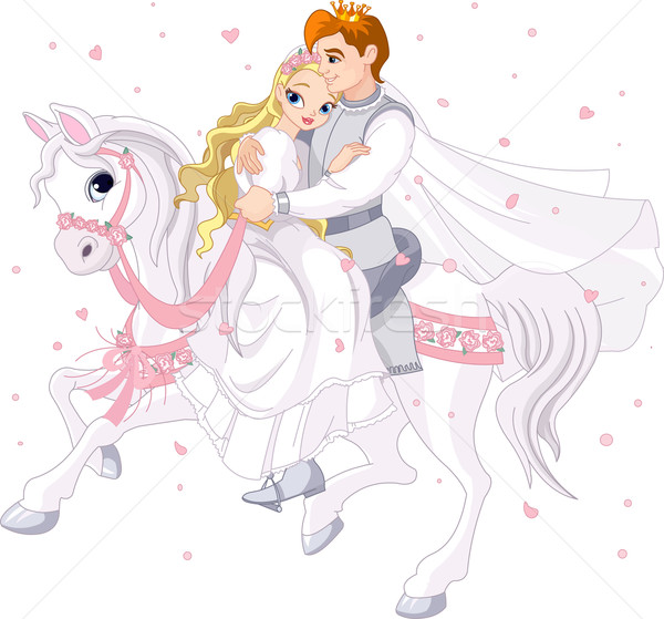 Romantic couple on white horse Stock photo © Dazdraperma