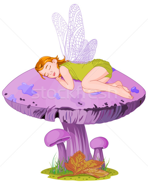 Alszik manó kicsi aranyos tündér gomba Stock fotó © Dazdraperma