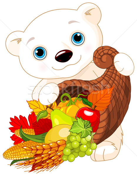 Urso polar cornucópia ilustração chifre comida arte Foto stock © Dazdraperma