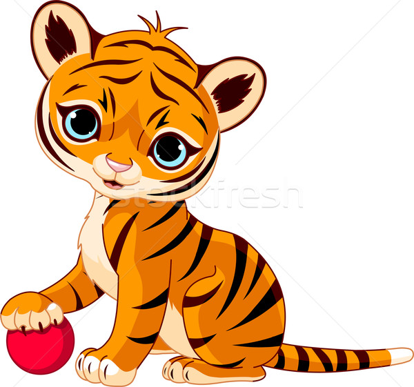 Aranyos tigris medvebocs játszik piros Stock fotó © Dazdraperma
