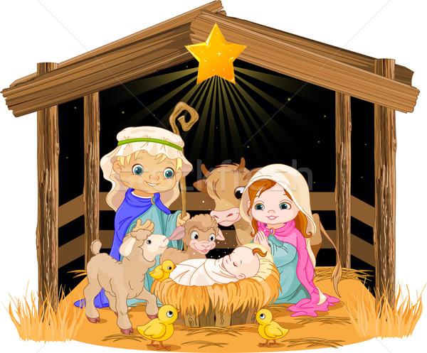 Holy Family at Christmas night Stock photo © Dazdraperma