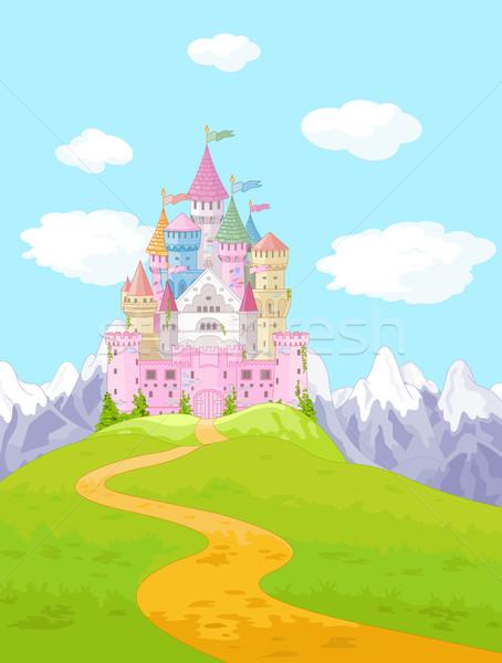 Bajki zamek krajobraz magic princess drogowego Zdjęcia stock © Dazdraperma
