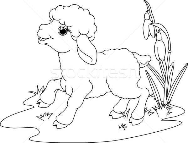 Easter lamb. Coloring page Stock photo © Dazdraperma