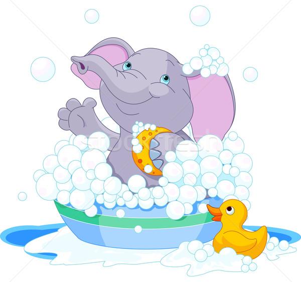 Elephant having a bath Stock photo © Dazdraperma