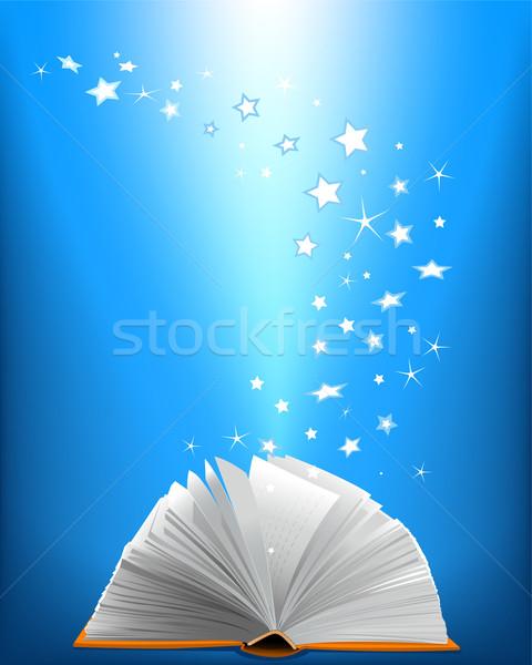 Stock fotó: Kinyitott · mágikus · könyv · ragyogó · csillagok · művészet