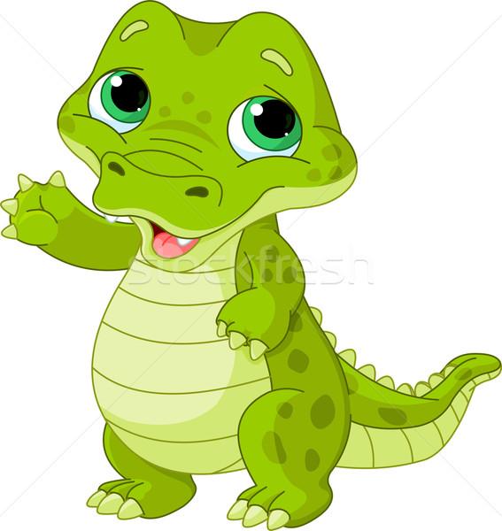 Baby aligator ilustracja cute zielone zabawy Zdjęcia stock © Dazdraperma
