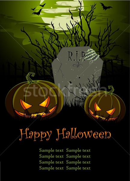 Halloween Illustration with Tombstone and Pumpkins Stock photo © Dazdraperma