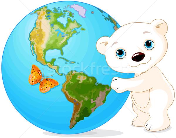 Jegesmedve föld napja Föld térkép óceán medve Stock fotó © Dazdraperma