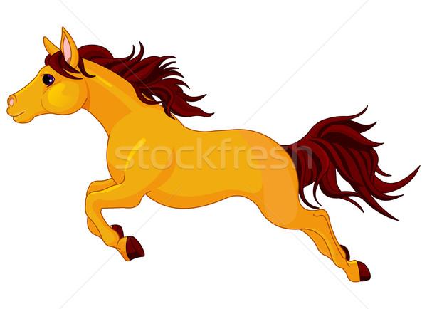 Uruchomiony konia ilustracja piękna złoty sztuki Zdjęcia stock © Dazdraperma