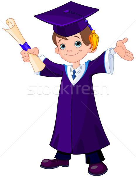 Jongen afgestudeerden illustratie cute school onderwijs Stockfoto © Dazdraperma
