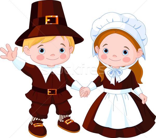 Thanksgiving Day Pilgrim Couple Stock photo © Dazdraperma