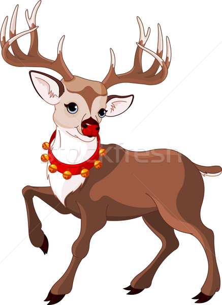 Beautiful cartoon reindeer Rudolf Stock photo © Dazdraperma