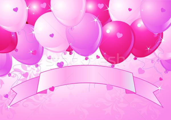 下がり ピンク バレンタイン 風船 場所 愛 ストックフォト © Dazdraperma