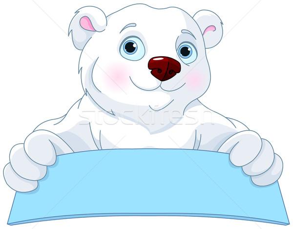 Jegesmedve tart felirat aranyos művészet jókedv Stock fotó © Dazdraperma