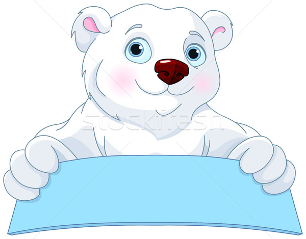 Polar Bear Holding a Sign Stock photo © Dazdraperma