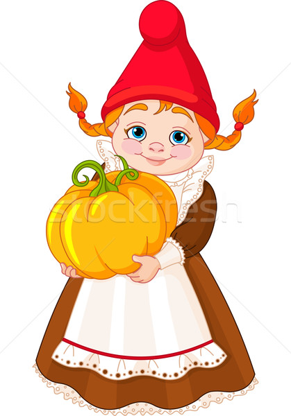 Garden Gnome with pumpkin Stock photo © Dazdraperma