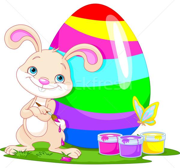 Cute Bunny and Easter Egg Stock photo © Dazdraperma