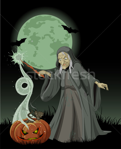 Halloween witch casts a spell Stock photo © Dazdraperma