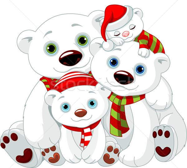 Grande urso polar família natal ilustração amor Foto stock © Dazdraperma