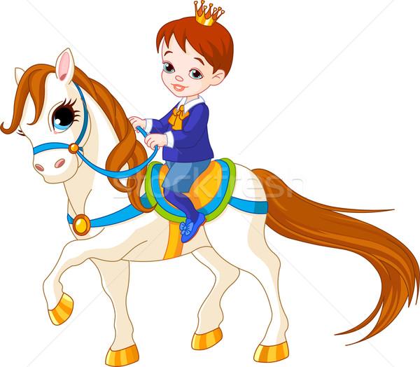 Pequeno príncipe cavalo bonitinho equitação masculino Foto stock © Dazdraperma
