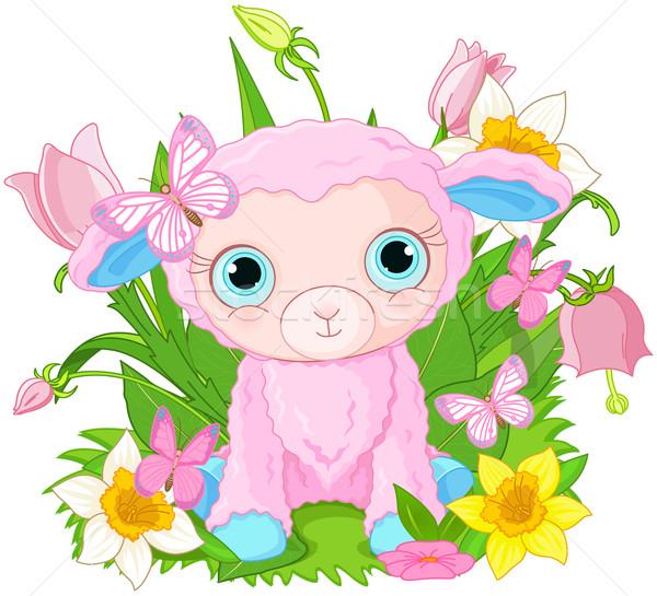 Cute welp schapen illustratie bos bloemen Stockfoto © Dazdraperma