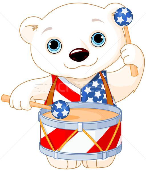 полярный медведь иллюстрация флаг животные Сток-фото © Dazdraperma
