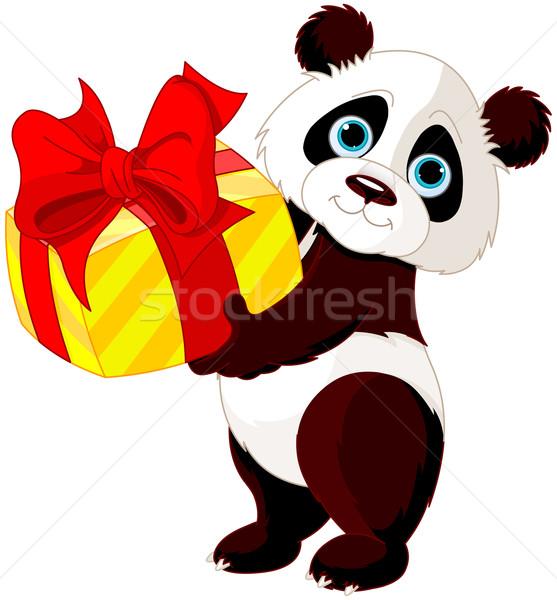 Verjaardag illustratie cute panda natuur vak Stockfoto © Dazdraperma