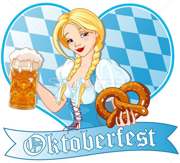 Oktoberfest fille drôle potable bière sourire Photo stock © Dazdraperma