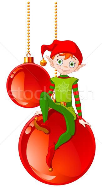Natal elfo sessão bola feliz criança Foto stock © Dazdraperma