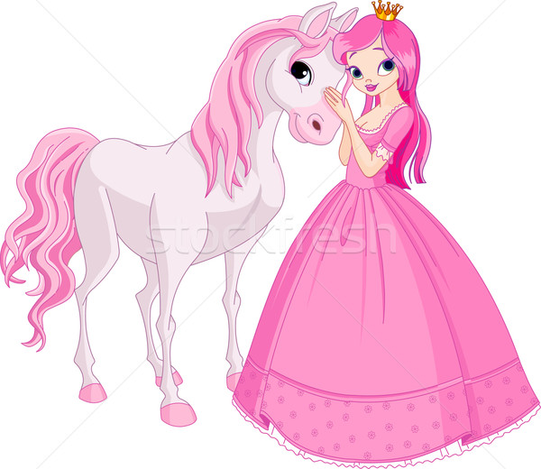 Beautiful princess and horse Stock photo © Dazdraperma