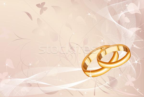 Trauringe Pastell Blume Hochzeit Liebe Blatt Stock foto © Dazdraperma