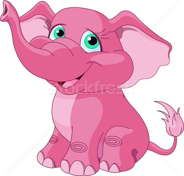 Stockfoto: Roze · olifant · cute · dier · glimlachend · cartoon