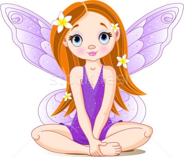 Peu cute fée illustration violette fille Photo stock © Dazdraperma