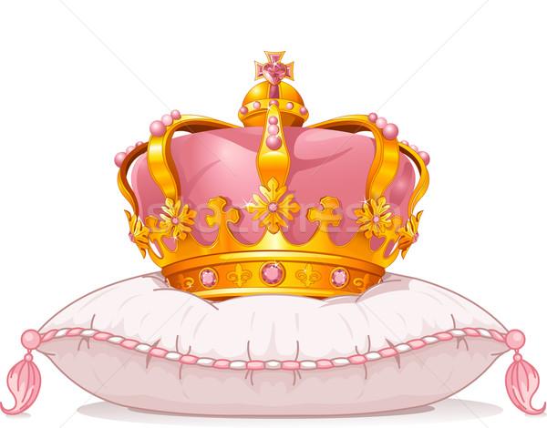 Coroa travesseiro adorável arte desenho animado magia Foto stock © Dazdraperma