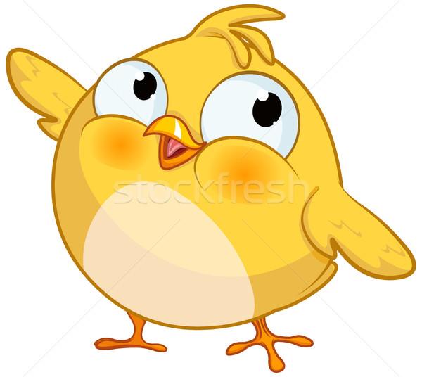 Aranyos citromsárga kicsi csirke illusztráció tavasz Stock fotó © Dazdraperma