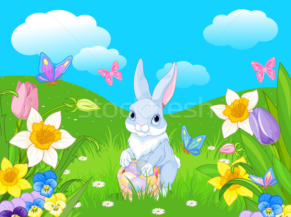 Easter Bunny with a Basket Full of Easter Eggs Stock photo © Dazdraperma