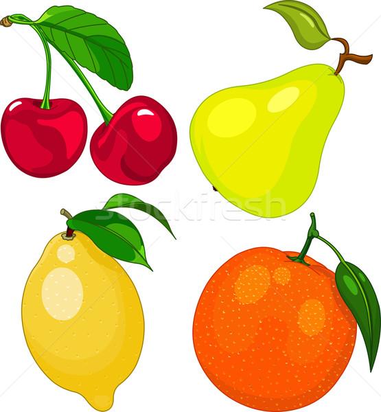 Cartoon fruit set Stock photo © Dazdraperma