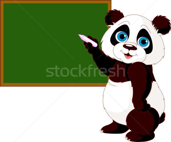 Panda writing on blackboard Stock photo © Dazdraperma