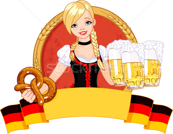 Oktoberfest fille design illustration drôle Photo stock © Dazdraperma