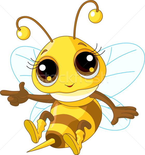 Cute bee tonen illustratie vriendelijk vliegen Stockfoto © Dazdraperma