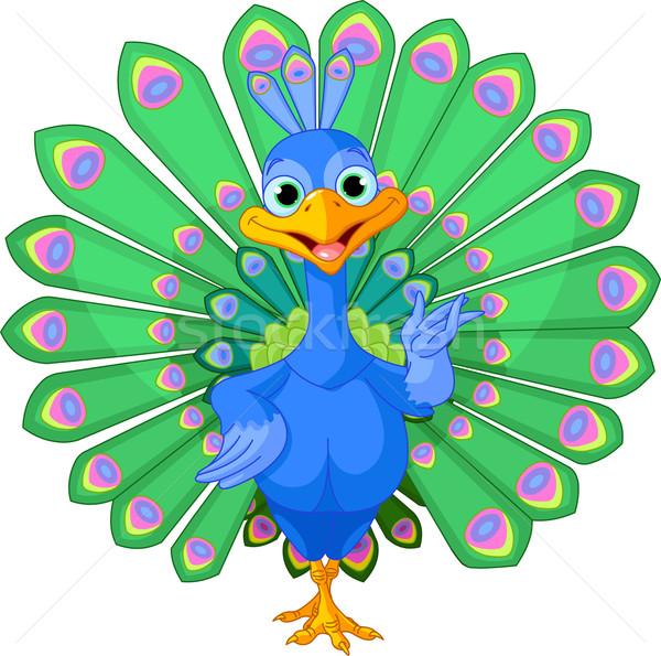 Cartoon pauw vogel mooie staart schoonheid Stockfoto © Dazdraperma