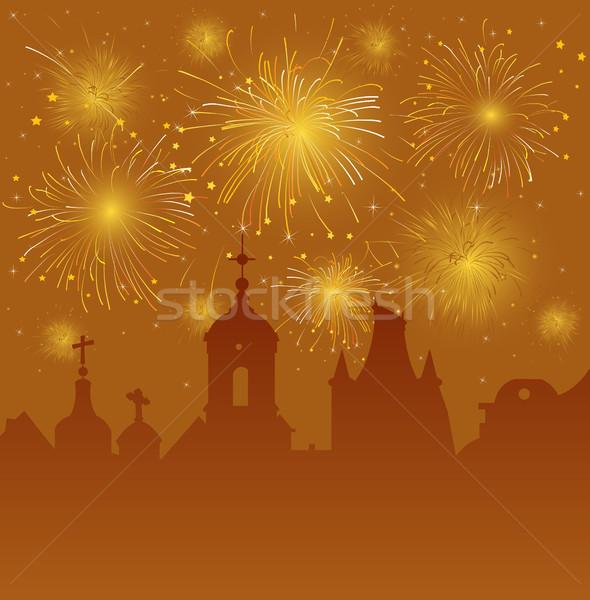 Foto stock: Velho · cityscape · celebração · fogos · de · artifício · edifício · cidade