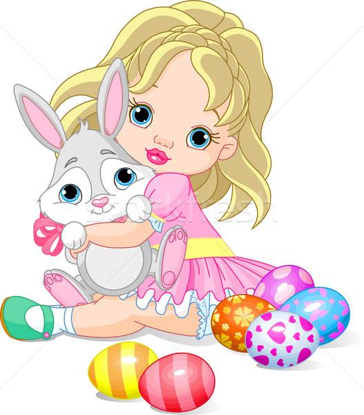 Meisje Easter Bunny cute meisje glimlach Stockfoto © Dazdraperma