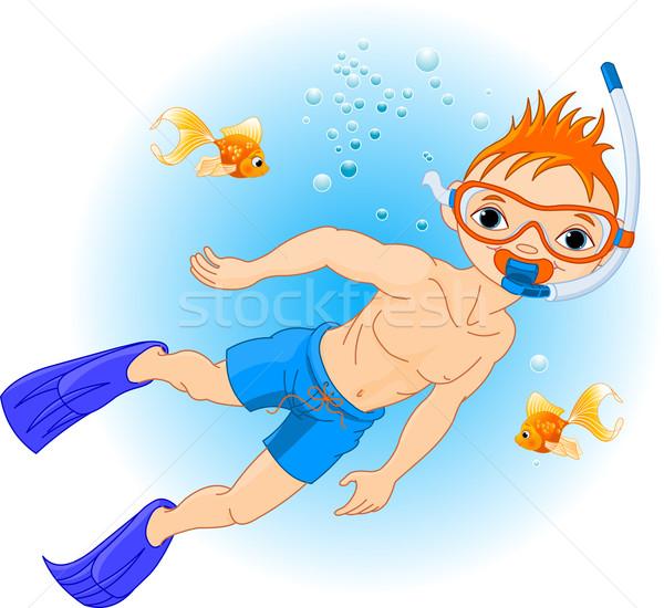 Boy swimming under water Stock photo © Dazdraperma