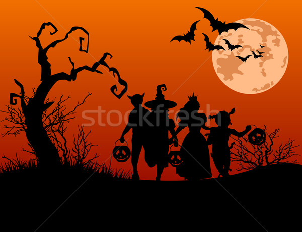 Halloween background with silhouettes of trick or treating child Stock photo © Dazdraperma