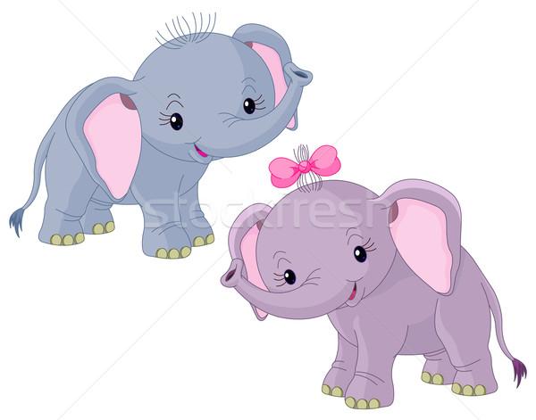 Iki bebekler filler sevimli kız bebek Stok fotoğraf © Dazdraperma